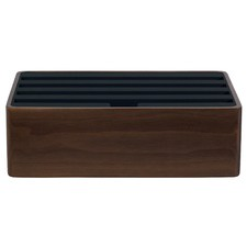 Medium Walnut & Black Top 4 Port USB Hub