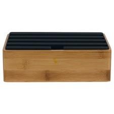 Medium Bamboo & Black Top 4 Port USB Hub