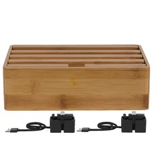 Medium Bamboo 4 Port USB Hub with 2 Magnetic Docking Adapters