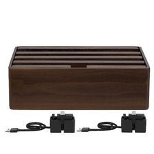 Medium Walnut 4 Port USB Hub with 2 Magnetic Docking Adapters