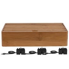 Large Bamboo 6 Port USB Hub with 3 Magnetic Docking Adapters