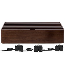 Large Walnut 6 Port USB Hub with 3 Magnetic Docking Adapters