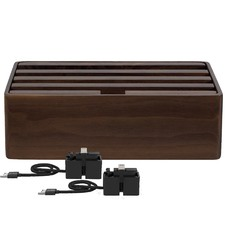 Medium Walnut & Black 4 Port USB  Hub with 2 Magnetic Docking Adapters