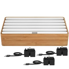 Large Bamboo & White 6 Port USB  Hub with 3 Magnetic Docking Adapters