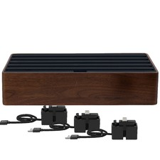 Large Walnut & Black 6 Port USB  Hub with 3 Magnetic Docking Adapters