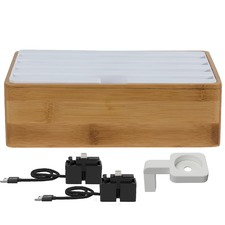Medium Bamboo & White 4 Port with Alldock Accessories Set