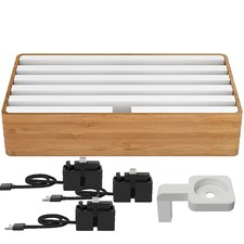 Large Bamboo & White 6 Port with Alldock Accessories Set