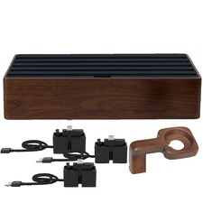 Large Walnut & Black 6 Port with Alldock Accessories Set