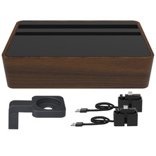 Compact Black & Walnut AllDock HybridX Charging Station with Accessories
