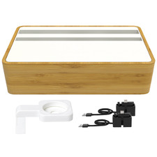 Compact White & Bamboo AllDock HybridX Charging Station with Accessories