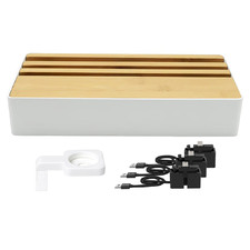 Alldock Wireless Family Charging Station White & Bamboo with 3 Apple Cables & Apple Watch Mount