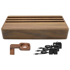 Large Natural Walnut AllDock HybridX Charging Station with Accessories