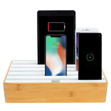 Alldock Classic Family Bamboo & White Charging Station with 3 Apple Cables