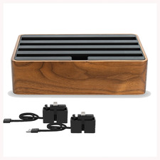 Alldock Classic Walnut & Black Charging Station with 2 Apple Cables