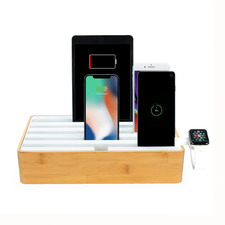 Alldock Classic Family Bamboo & White Charging Station with 3 Apple Cables & Apple Watch Mount