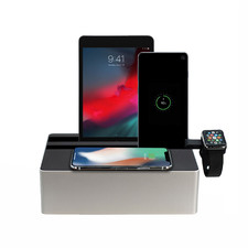 Alldock Wireless Charging Station  Silver Aluminium & Black with 2 Apple Cables & Apple Watch Mount