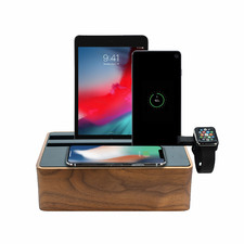Alldock Wireless Charging Station Walnut & Black with 2 Apple Cables & Apple Watch Mount