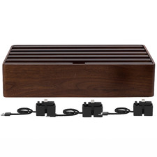 Alldock Classic Family Charging Station Walnut with 3 Apple Cables
