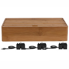 Alldock Classic Family Charging Station Bamboo with 3 Apple Cables