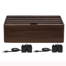 Alldock Classic Charging Station Walnut with 2 Apple Cables