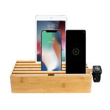 Alldock Classic Family Charging Station Bamboo with 3 Apple Cables & Apple Watch Mount