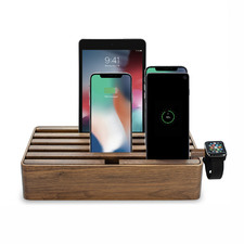 Alldock Classic Family Charging Station Walnut with 3 Apple Cables & Apple Watch Mount