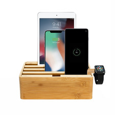 Alldock Classic Bamboo Charging Station with 2 Apple Cables & Apple Watch Mount