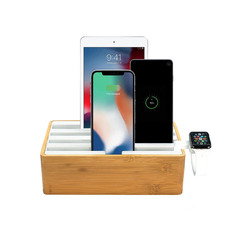 Alldock Classic Bamboo & White Charging Station with 2 Apple Cables & Apple Watch Mount