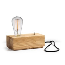 Wood Block Table Lamp with Black Cable