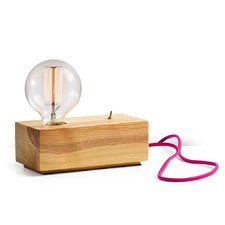 Wood Block Table Lamp with Pink Cable