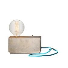 Hank Brick Lamp with Aqua/Blue Cable