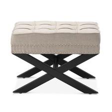 Taupe Vanessa Upholstered Footstool