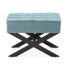 Teal Vanessa Upholstered Footstool