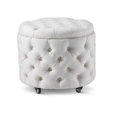 Small Linen White Jessica Storage Ottoman