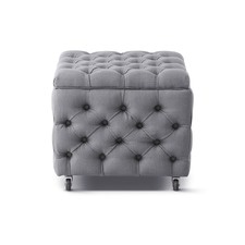 Wolf Grey Sheffield Square Storage Ottoman