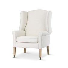 Linen White English Reading Chair