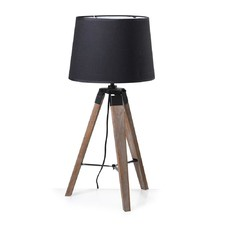 Weathered Tripod Table Lamp with Black Shade
