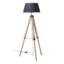 Weathered Tripod Floor Lamp with Black Shade