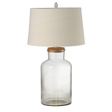 Large Fillable Jar Lamp with Oatmeal Shade