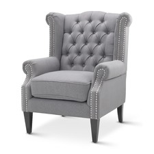 Wolf Grey Royale Wingback Armchair