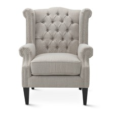 Taupe Royale Wingback Arm Chair
