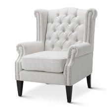 Linen White Duke Wingback Armchair