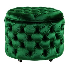 Small Emerald Emma Storage Ottoman