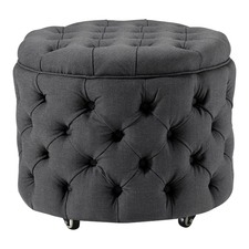 Small Charcoal Emma Storage Ottoman