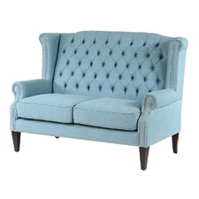 Teal Royale Wingback Loveseat