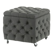Charcoal Square Sheffield Storage Ottoman