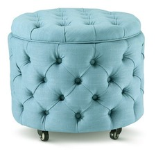 Small Teal Jessica Storage Ottoman