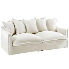 Stone Cumulus 3 Seater Linen Slipcover Sofa