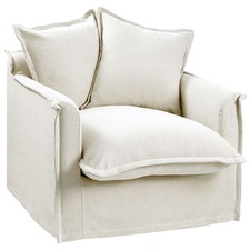 Stone Cumulus Linen Slipcover Armchair