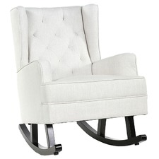 Linen White Isla Wingback Rocking Chair